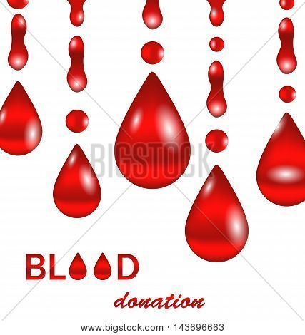 Illustration Creative Background for Blood Donation. Poster for World Blood Donor Day. Set of Glossy Icons of Blood Drops. Medical Wallpaper - Vector