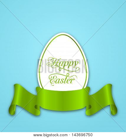 Illustration label with ribbon as Easter paper egg - vector