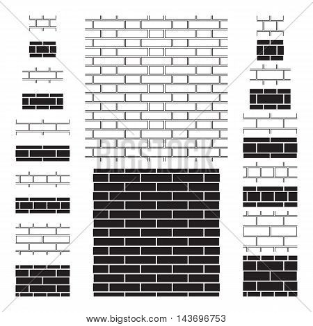 20 brick wall (brickwork) seamless patterns. Four types of bonds used in brick masonry work, two sizes of brick, contour and silhouette design. Brick wall sign, icons, backgrounds. Vector illustration