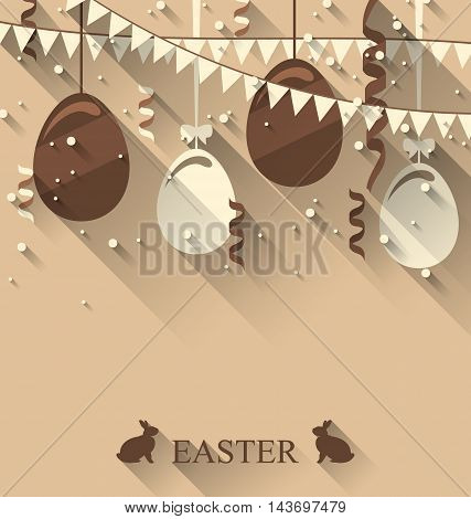 Illustration Easter background with chocolate eggs, serpentine and bunting flap, trendy flat style - vector