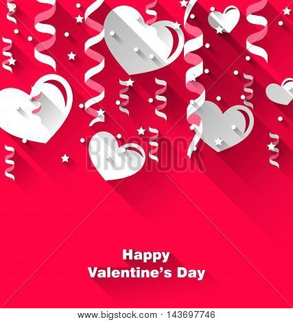 Illustration background for Valentine's Day with paper hearts, streamer, trendy flat style - vector