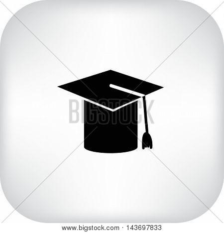 Flat icon. Graduate hat.