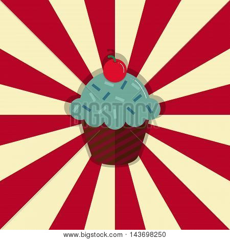 Cupcake with cherry on retro style circle ray background. Vector illustration. EPS10