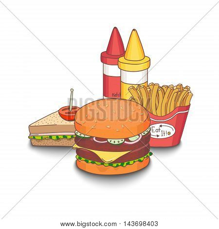 Set of cartoon fast-food meal colored with shadows on white background. Hamburger, sandwich, fries, ketchup and mustard. EPS10