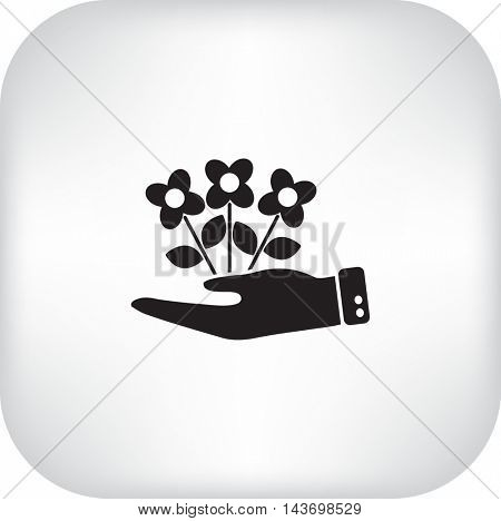 Flat icon. Ecology of plants. On the palm.