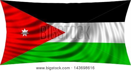 Flag of Jordan waving in wind isolated on white background. Jordan national flag. Patriotic symbolic design. 3d rendered illustration