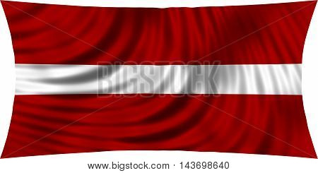 Flag of Latvia waving in wind isolated on white background. Latvian national flag. Patriotic symbolic design. 3d rendered illustration