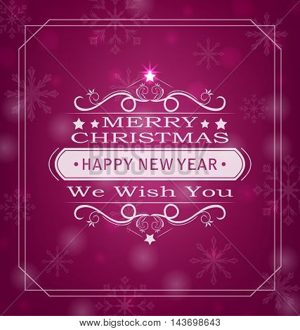 Illustration Merry Christmas Wishes, Typography Design. Celebration Card Frame - Vector
