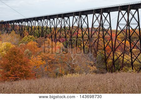 A partial view of the Moodna Viaduct in the Hudson Valley and peak fall colors.