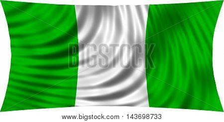 Flag of Nigeria waving in wind isolated on white background. Nigerian national flag. Patriotic symbolic design. 3d rendered illustration