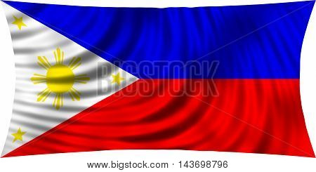 Flag of Philippines waving in wind isolated on white background. Philippine national flag. Patriotic symbolic design. 3d rendered illustration
