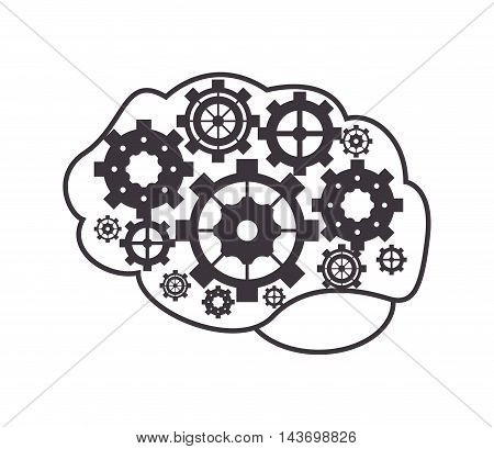 flat design brain and gears icon vector illustration