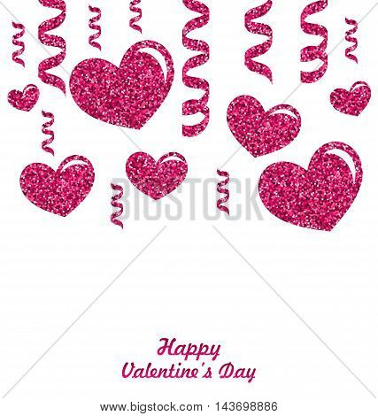 Frame from Pink Hearts with Glitter Background, space place for your text, sample lettering  - vector