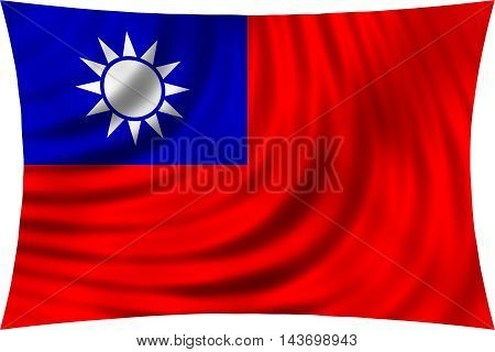 Flag of the Republic of China ROC Taiwan waving in wind isolated on white background. The national flag of Taiwan. Patriotic symbolic design. 3d rendered illustration