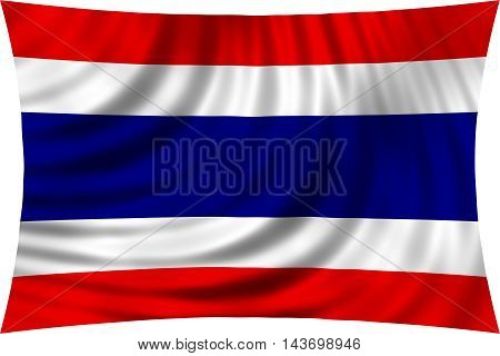 Flag of Thailand waving in wind isolated on white background. Thai national flag. Patriotic symbolic design. 3d rendered illustration