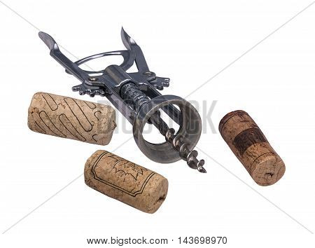 corkscrew and cork for wine isolated on a white background