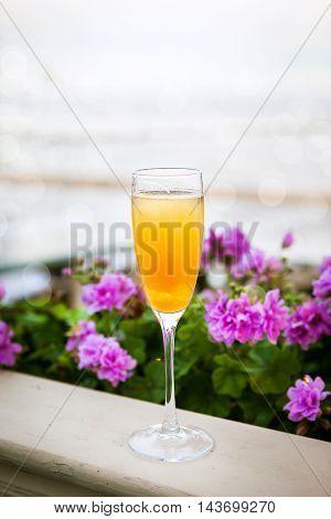 Glass Of Italian Bellini Alcoholic Cocktail