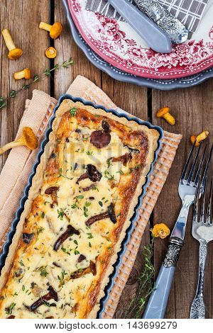 Chanterelle Mushroom, Cheese And Thyme Quiche