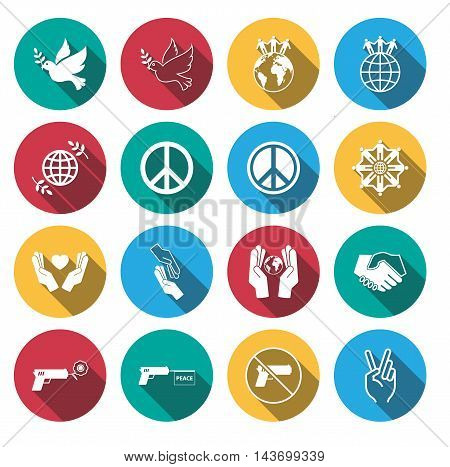 flat shadow peace and war sign . vector illustration.