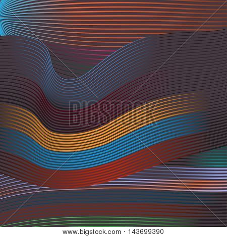 Abstract background wallpaper with tapes of waved curves dim colors