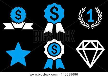 Award glyph icons. Pictogram style is bicolor blue and white flat icons with rounded angles on a black background.