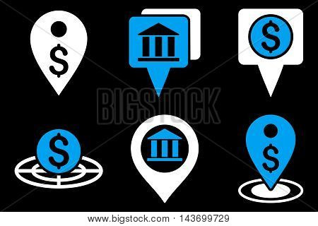 Bank Location glyph icons. Pictogram style is bicolor blue and white flat icons with rounded angles on a black background.