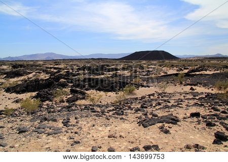 The ancient Amboy Crater in the vast desert of Southern California