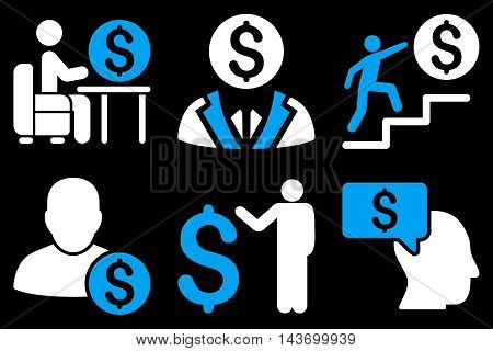 Businessman glyph icons. Pictogram style is bicolor blue and white flat icons with rounded angles on a black background.