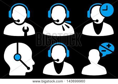 Call Center Operator glyph icons. Pictogram style is bicolor blue and white flat icons with rounded angles on a black background.