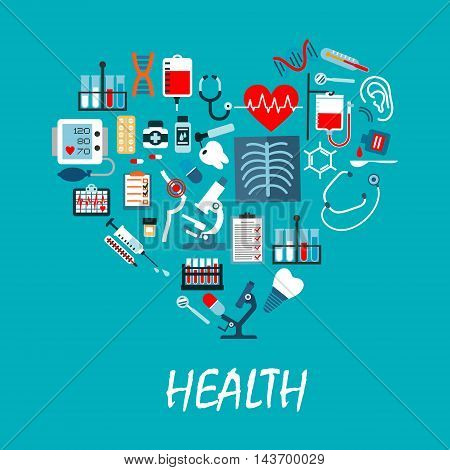 Healthcare medicine vector poster with icons in heart shape. Medical equipment and treatment elements. Hospital infographic