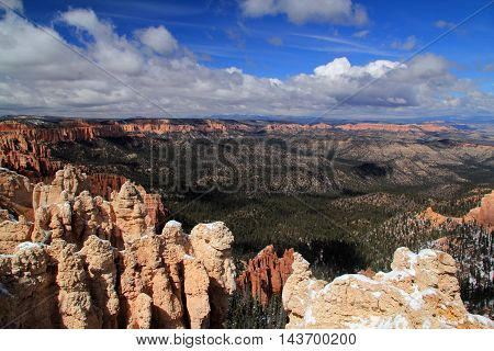 View of Bryce Canyon from Rainbow Point in Bryce Canyon National Park in the state of Utah
