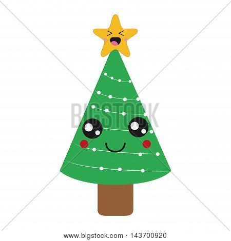 flat design kawaii christmas tree icon vector illustration