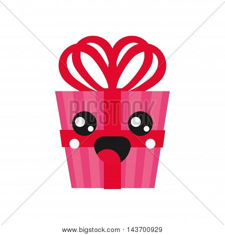 flat design kawaii gift box icon vector illustration
