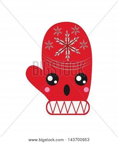 flat design kawaii winter mittens icon vector illustration