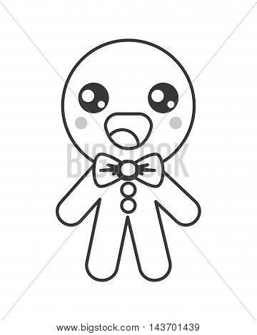 flat design kawaii gingerbread cookie icon vector illustration