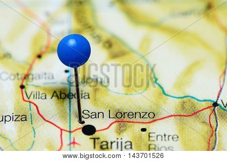 San Lorenzo pinned on a map of Bolivia