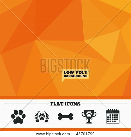 Triangular low poly orange background. Pets icons. Dog paw sign. Winner laurel wreath and cup symbol. Pets food. Calendar flat icon. Vector