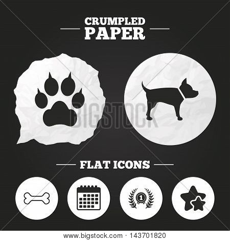 Crumpled paper speech bubble. Pets icons. Cat paw with clutches sign. Winner laurel wreath and medal symbol. Pets food. Paper button. Vector