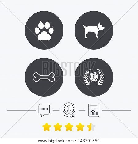 Pets icons. Cat paw with clutches sign. Winner laurel wreath and medal symbol. Pets food. Chat, award medal and report linear icons. Star vote ranking. Vector