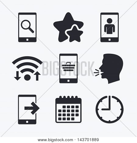 Phone icons. Smartphone video call sign. Search, online shopping symbols. Outcoming call. Wifi internet, favorite stars, calendar and clock. Talking head. Vector