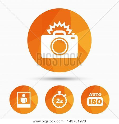 Photo camera icon. Flash light and Auto ISO symbols. Stopwatch timer 2 seconds sign. Human portrait photo frame. Triangular low poly buttons with shadow. Vector
