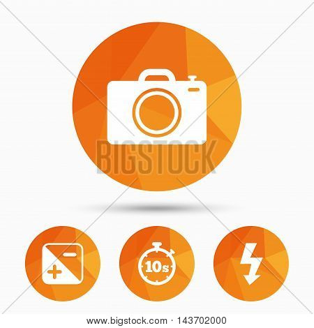 Photo camera icon. Flash light and exposure symbols. Stopwatch timer 10 seconds sign. Triangular low poly buttons with shadow. Vector