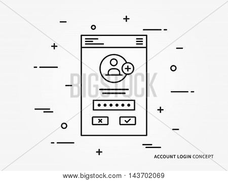 Login access mobile webpage vector illustration. Sign up (log in, sign in) interface technology creative concept. Simple registration, submit form (frame, box) graphic design.