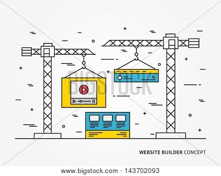 Website development vector linear (line) illustration. Webpage construction app technology creative concept. Web interface (webpage, layers, layout, template, content) graphic design.