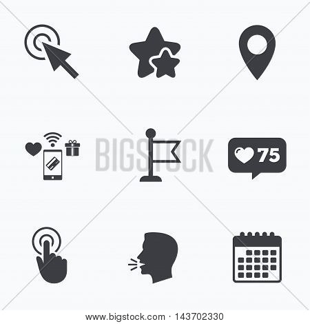 Mouse cursor icon. Hand or Flag pointer symbols. Map location marker sign. Flat talking head, calendar icons. Stars, like counter icons. Vector