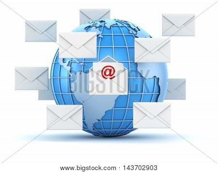 E-mail concept with world and envelope This is a 3d computer generated image. Isolated on white.