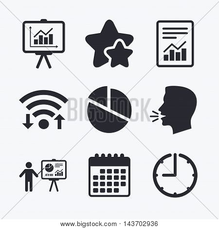 File document with diagram. Pie chart icon. Presentation billboard symbol. Supply and demand. Wifi internet, favorite stars, calendar and clock. Talking head. Vector