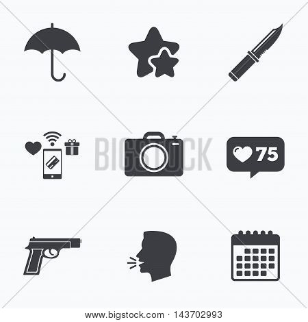 Gun weapon icon.Knife, umbrella and photo camera signs. Edged hunting equipment. Prohibition objects. Flat talking head, calendar icons. Stars, like counter icons. Vector