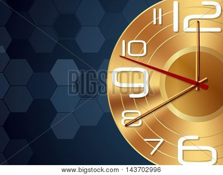 Illustration of Gold wall Clock abstract background