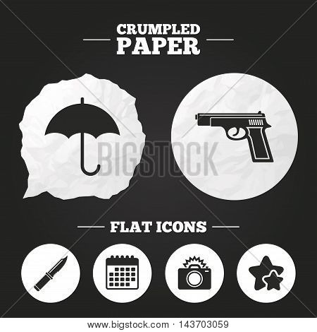 Crumpled paper speech bubble. Gun weapon icon.Knife, umbrella and photo camera with flash signs. Edged hunting equipment. Prohibition objects. Paper button. Vector